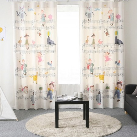 Music Notes White Windows Curtains Drapes Kids Children Living Bedroom Grommet Pinch Pleat Hooks 2 Panels Lined Customize Size